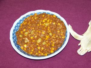 Brunswick stew made from a wild boar's head and deer.