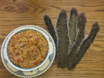 Squirrel stew made from the de-boned meat from five squirrels, tomatoes, corn and onions is one of the recipes in my book.