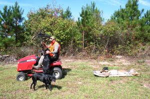 The author with dogs and deer on sled pulled by lawn mower.