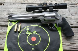 Four shots fired at 50 yards from the S&W .460 revolver. I would have no trouble hunting with this fine revolver.