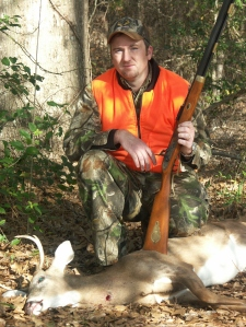 "Paul Presley with his first ""muzzleloaded"" deer taken with a traditional CVA Hawken rifle."