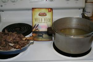Using a Camp Trails Wild Rice soup mix to make a swan soup from the leftovers of a Christmas swan.