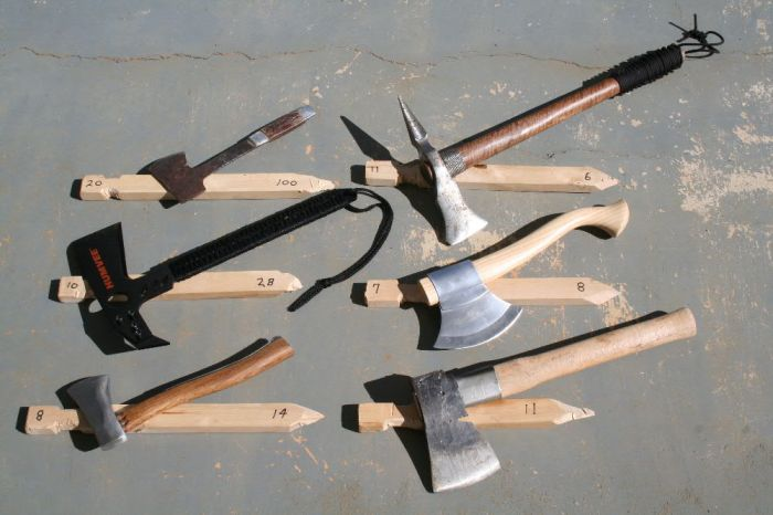A selection of small hatchets.