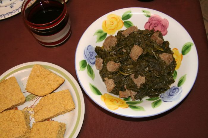 Turnip greens with wild hog tenderloin.