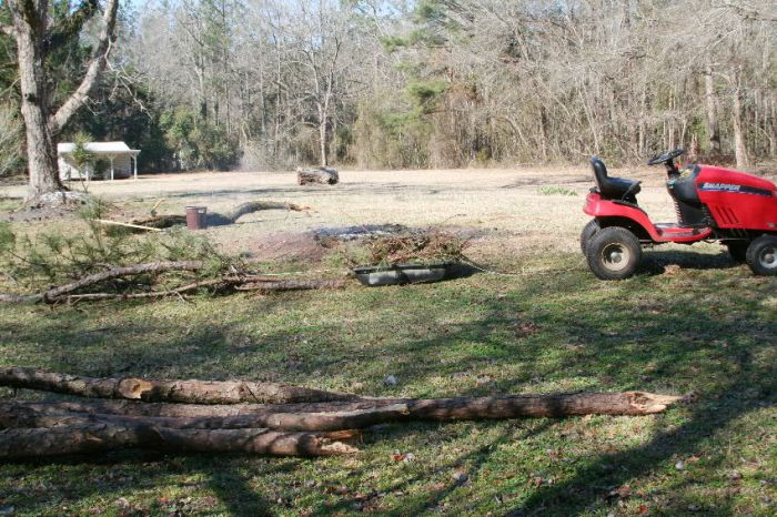 Lawnmower is used to drag a cart of small broken limbs and tow a group of fallen pine limbs to the burn piles.