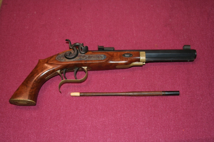 The Patriot with the author's homemade ramrod made of resin-impregnated wood with antler tip.