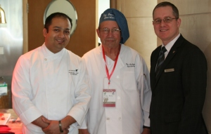 Hovey, center, with Chef and Hotel Manager.