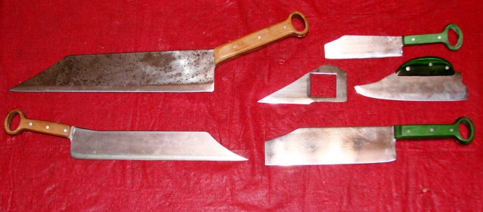 Assorted knives on red back. banner