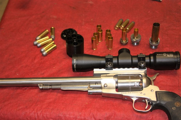 Ruger Old Army with .45 L.C. rounds and cartridge cylinder.